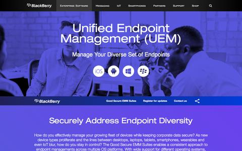 Screenshot of blackberry.com - Unified Endpoint Management (UEM) - United States - captured July 9, 2016