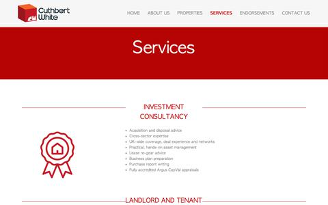 Screenshot of Services Page cuthbertwhite.com - Commercial rental property agents and investment consultancy for landlords, property acquisition services and advice for tenants UK. - captured July 29, 2017