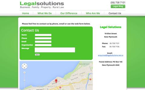 Screenshot of Contact Page legalsolutions.net.nz - Legal Solutions (2012) Limited :: Contact Us - captured Oct. 2, 2014