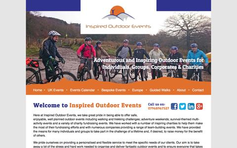 Screenshot of Home Page inspired-outdoors.co.uk - Home - Inspired Outdoor EventsInspired Outdoor Events   Inspired Outdoor Events is a leading provider Trekking Events, Corporate Events, Charity Fund Raising Events, Team Building Events, Corporate Training, Corporate Activities and Team Building Eve - captured Jan. 22, 2017