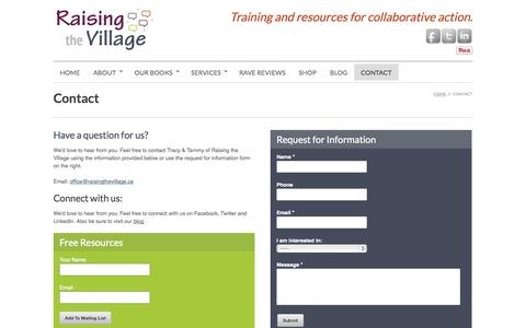 Screenshot of Contact Page raisingthevillage.ca - Contact Raising the Village - captured Oct. 7, 2014