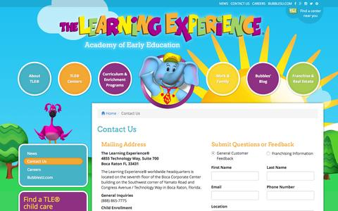 Screenshot of Contact Page thelearningexperience.com - Contact Us | The Learning Experience® - captured March 2, 2016
