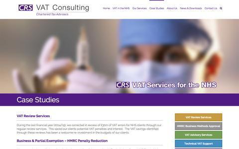 Screenshot of Case Studies Page crsvat.com - Case Studies | CRS VAT Consulting | VAT Services for the NHS - captured Jan. 23, 2016