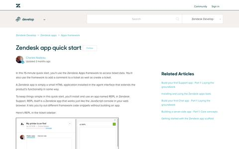 Screenshot of Support Page zendesk.com - Zendesk app quick start – Zendesk Develop - captured Aug. 4, 2018