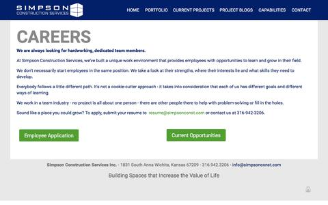 Screenshot of Jobs Page simpsonconst.com - Wichita Construction Jobs, Management, Recruitment, Career - captured Feb. 23, 2016