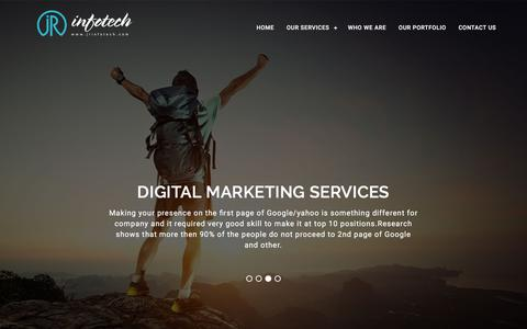 Screenshot of Home Page jrinfotech.com - JR Infotech - provides Digital marketing services .It is also pioneer in Website designing and development and complete solution of Digital marketing under one roof at single platform. - captured March 25, 2016