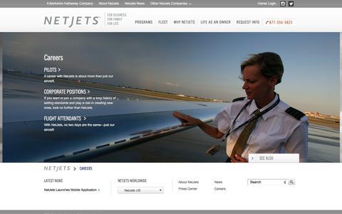 Screenshot of Jobs Page netjets.com - NetJets Careers: Corporate & Private Jet Jobs - captured Aug. 12, 2016