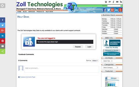 Screenshot of Support Page zolltech.com - Help Desk |   Zoll Technologies - captured Oct. 18, 2018
