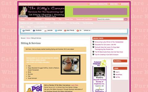 Screenshot of Pricing Page thekittyscorner.com - Sitting & Services : The Kitty's Corner - captured Oct. 8, 2014