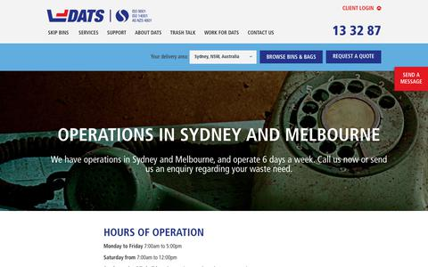 Screenshot of Contact Page dats.net.au - Contact DATS, Sydney and Melbourne - captured Oct. 11, 2017