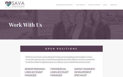 Screenshot of FAQ Page savainsurance.com - Employment Opportunities | SAVA Insurance - Waterford, CT - captured May 28, 2017