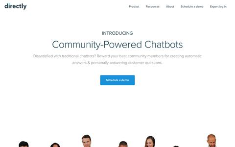 Screenshot of Home Page directly.com - Community-powered Chatbots — Directly - captured Oct. 13, 2017