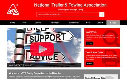 Screenshot of Home Page ntta.co.uk - National Trailer & Towing Association Ltd - captured Nov. 9, 2018