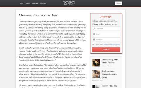 Screenshot of Testimonials Page toyboywarehouse.com - Success Stories - captured Sept. 19, 2014