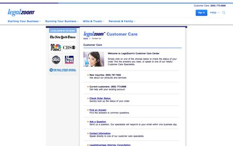 Screenshot of Contact Page legalzoom.com - Customer Care - LegalZoom - captured Nov. 10, 2015