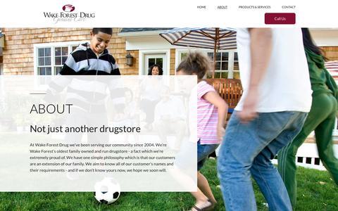 Screenshot of About Page wakeforestdrug.com - Wake Forest Drug - captured Nov. 10, 2017