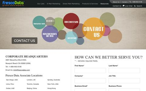 Screenshot of Contact Page frescodata.com - Contact Us - FrescoData   Mailing Lists   Email Marketing Lists - captured Sept. 30, 2014