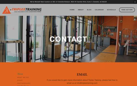 Screenshot of Contact Page triplextraining.com - Contact Us — Triplex Training - captured Dec. 17, 2016
