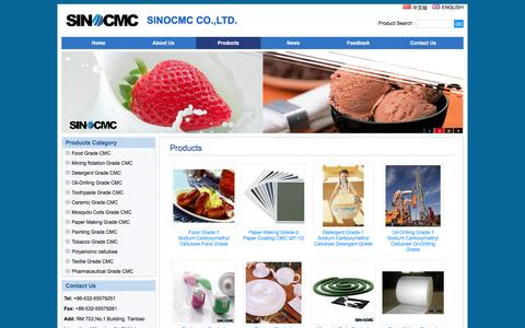 Screenshot of Products Page sino-cmc.com - CMC,Sodium Carboxymethyl Cellulose,Carboxymethyl Cellulose,Carboxy Methyl Cellulose,Products - CMC,Sodium Carboxymethyl Cellulose,Carboxymethyl Cellulose,Carboxy Methyl Cellulose,Manufacturer,Supplier - captured Feb. 2, 2016