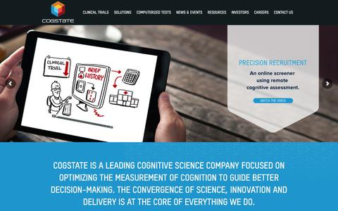 Screenshot of Home Page cogstate.com - Cogstate - Leaders in optimizing the measure of cognition - captured July 14, 2016