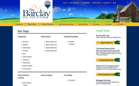Screenshot of Site Map Page wesellking.com - Gemma Barclay, Sales Representative :: RE/MAX Realtron Realty Inc., Brokerage - captured Oct. 2, 2014