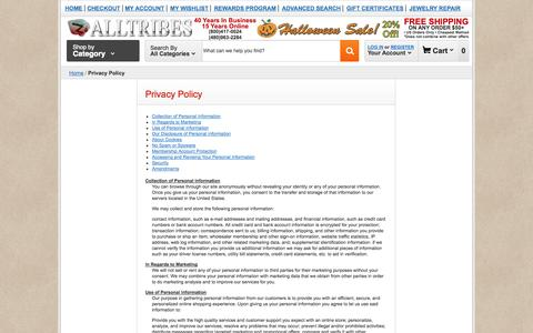 Screenshot of Privacy Page alltribes.com - Privacy Policy    Alltribes - captured Oct. 29, 2014