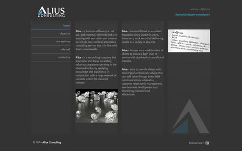 Screenshot of Home Page alius.biz - Alius Consulting - Global Diamond Industry Consultancy Services - captured Oct. 4, 2014