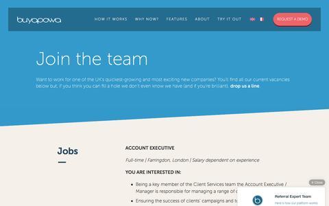 Screenshot of Jobs Page buyapowa.com - Join the Buyapowa team - referral marketing platform - captured Oct. 7, 2016