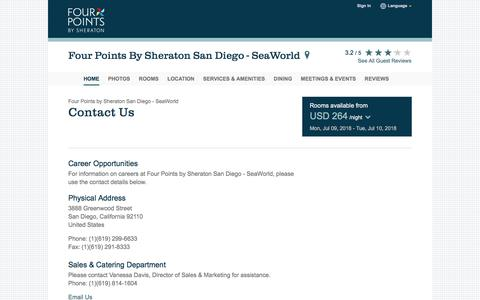 Screenshot of Contact Page starwoodhotels.com - Contact Us | Four Points by Sheraton San Diego - SeaWorld - captured July 9, 2018
