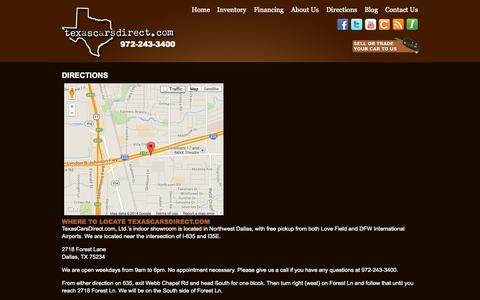 Screenshot of Maps & Directions Page texascarsdirect.com - Directions Map Location Dealer Showroom - captured Sept. 22, 2014
