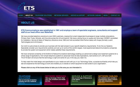 Screenshot of About Page etscommunications.co.uk - ETS Communications, Telephone Solutions, Network Services, Network Cabling, VoIP Solutions, Advanced Voice and Data Applications - captured Oct. 1, 2014