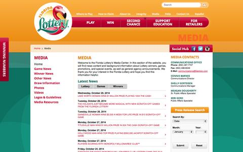 Screenshot of Press Page flalottery.com - Florida Lottery - Media - captured Oct. 29, 2014