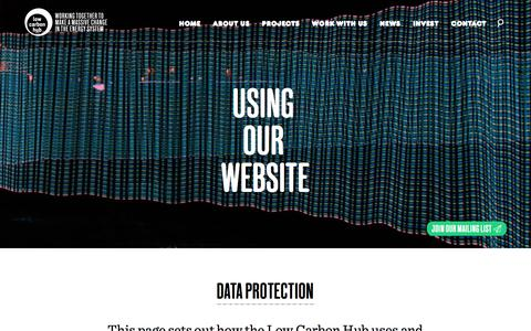 Screenshot of Terms Page lowcarbonhub.org - Low Carbon Hub   Data protection - captured July 17, 2016