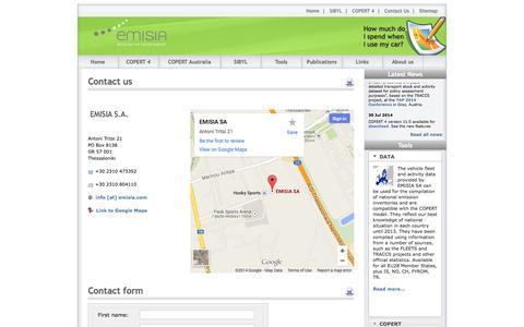 Screenshot of Contact Page emisia.com - Contact Us - captured Oct. 2, 2014