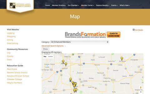 Screenshot of Maps & Directions Page neoshocc.com - Map - Neosho Area Chamber of Commerce, MO - captured Oct. 19, 2018
