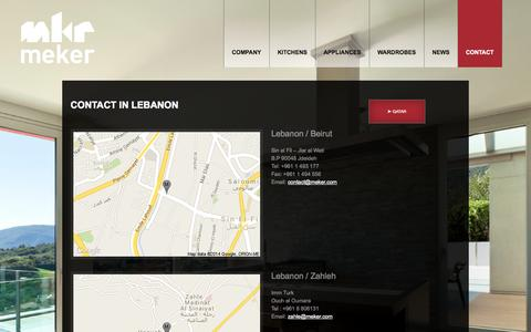 Screenshot of Contact Page meker.com - Contact in Lebanon  |  MKR - captured Oct. 27, 2014
