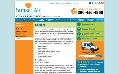 Screenshot of Jobs Page sunsetair.com - Careers   Sunset Air - captured Oct. 7, 2014