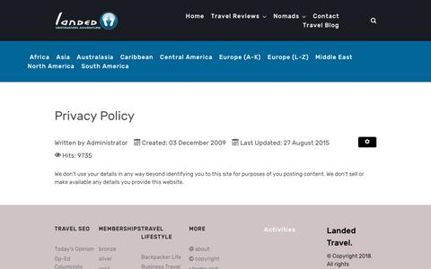 Screenshot of Privacy Page landed.at - Privacy Policy - captured Sept. 30, 2018