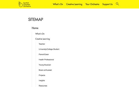 Screenshot of Site Map Page sco.org.uk - Sitemap | Scottish Chamber Orchestra - captured Jan. 18, 2016