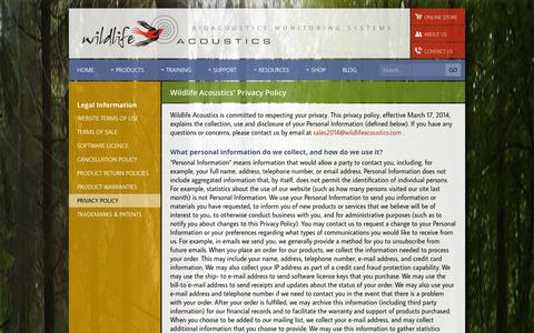 Screenshot of Privacy Page wildlifeacoustics.com - Wildlife Acoustics - Privacy - captured Oct. 26, 2014