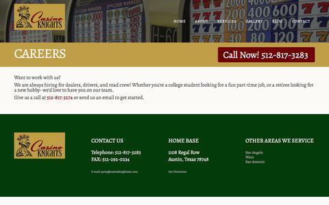 Screenshot of Jobs Page casinoknightsinc.com - Careers - Casino Knights - captured July 16, 2018