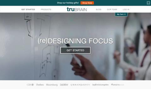 Screenshot of Home Page trubrain.com - truBrain | (re)Designing Focus - captured Dec. 30, 2015