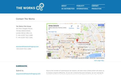 Screenshot of Contact Page theworksfilmgroup.com - Contact the Works Film Group | The Works Film Group - captured Dec. 23, 2016