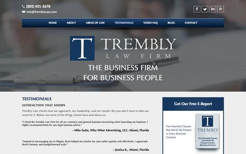 Screenshot of Testimonials Page tremblylaw.com - Testimonials - Trembly Law Firm - captured Aug. 15, 2015