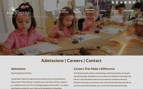 Screenshot of Contact Page klaschools.com - Child Care Preschool Programs in Miami-KLA Schools - captured June 9, 2017
