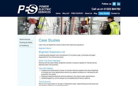 Screenshot of Case Studies Page powerelectricservices.co.uk - Plumbing, AC, Heating and Electrical Contractors |PES - captured Oct. 2, 2014