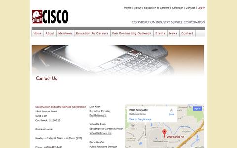 Screenshot of Contact Page cisco.org - CISCO    Construction Industry Service Corporation - captured Oct. 3, 2014