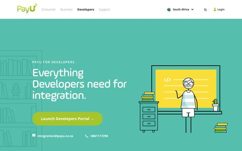 Screenshot of Developers Page payu.co.za - Developers | Product Integration | PAYU - South Africa - captured Jan. 15, 2016