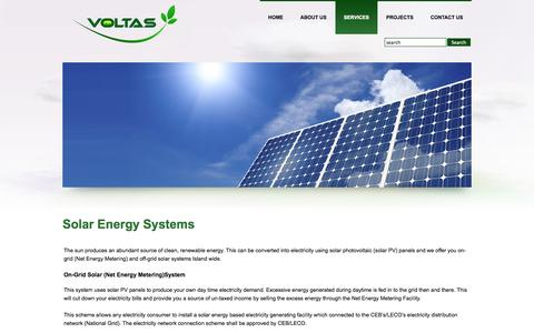 Screenshot of Services Page voltasengineering.lk - Solar Energy Systems - captured Oct. 7, 2014