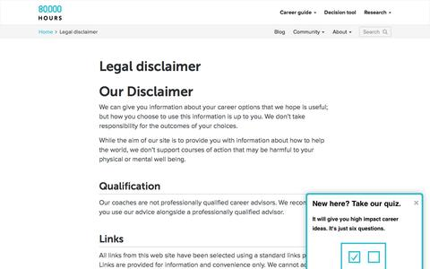 Screenshot of Terms Page 80000hours.org - Legal disclaimer - 80,000 Hours - captured Aug. 11, 2016